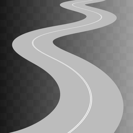 curved road: Vector  Curved road with white markings on transparent. illustration 8