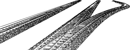 railroad track: Vector Railroad track silhouettes. Railway tracks cartoon vector illustration. 2 Illustration