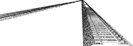 railroad track: Vector Railroad track silhouettes. Railway tracks cartoon vector illustration. 3
