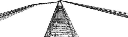 railroad track: Vector Railroad track silhouettes. Railway tracks cartoon vector illustration. 4