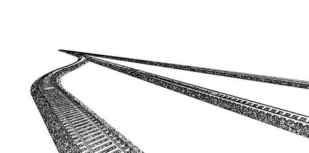 Vector Railroad track silhouettes. Railway tracks cartoon vector illustration. 5