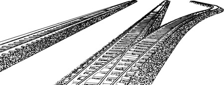 railroad track: Vector Railroad track silhouettes. Railway tracks cartoon vector illustration. 6 Illustration