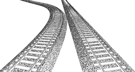 railroad track: Vector Railroad track silhouettes. Railway tracks cartoon vector illustration. 10 Illustration