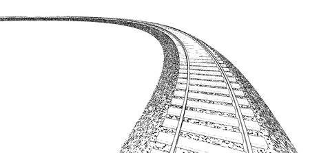 railroad track: Vector Railroad track silhouettes. Railway tracks cartoon vector illustration. 1 Illustration