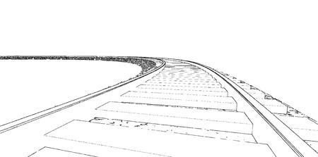 Vector Railroad track silhouettes. Railway tracks cartoon vector illustration. 1 Stock Illustratie