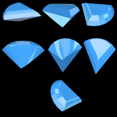faceting: Vector set of diamond design elements - cutting samples 7