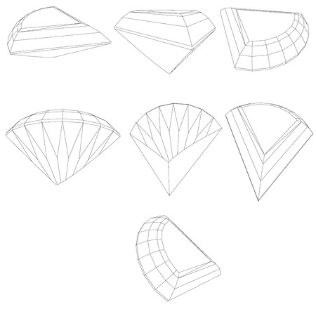 ring ruby: Vector set of diamond design elements - cutting samples 10