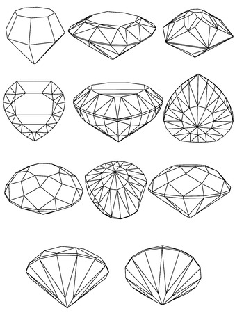 topaz: Vector set of diamond design elements - cutting samples 8