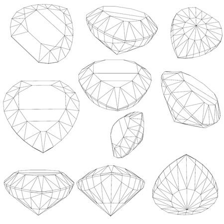 asscher: set of diamond design elements