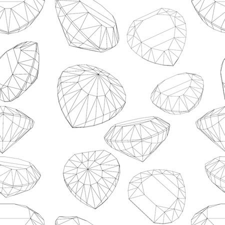 asscher: set of diamond design elements seamless