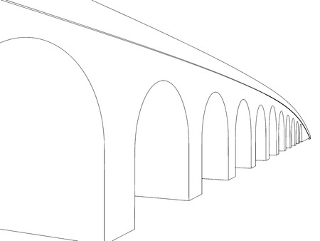 balustrade: Vector illustration of isolated cartoon bridge on white background 3