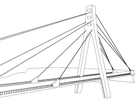Vector illustration of isolated cartoon bridge on white 8