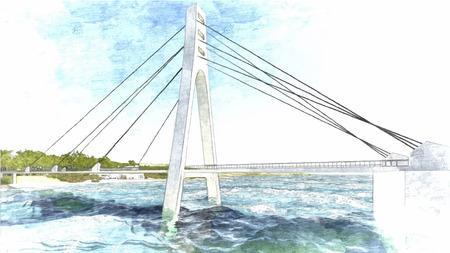 bridge hand: Vector Bridge hand drawn, vector illustration 1