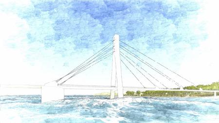 bridge hand: Vector Bridge hand drawn, vector illustration 2