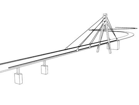 bridge hand: Vector illustration Hand drawn bridge on the sea 3