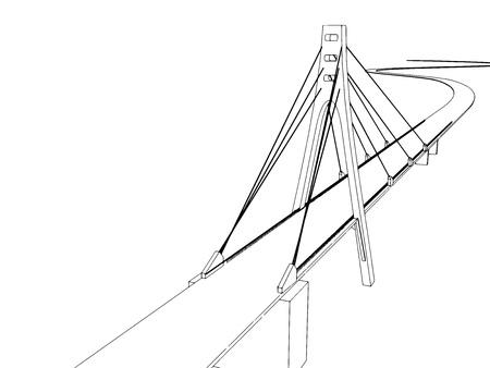 embankment: Vector illustration Hand drawn bridge on the sea 4