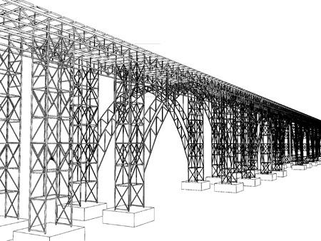 viaduct: Vector illustration of a bridge with metro on white 1 Illustration