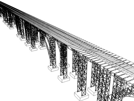 viaduct: Vector illustration of a bridge with metro on white 5