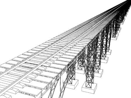 viaduct: Vector illustration of a bridge with metro on white 7 Illustration