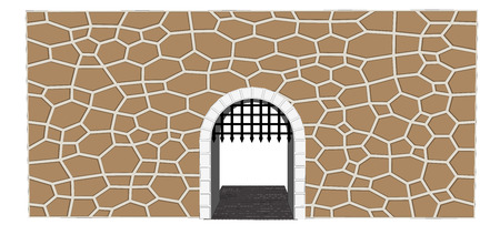 open gate: isolated medieval open gate illustration
