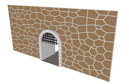corbel: isolated medieval open gate illustration