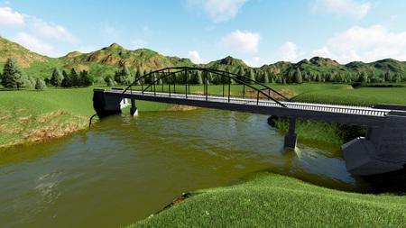 footbridge: Illustration of rural landscape with stone bridge 1 Stock Photo