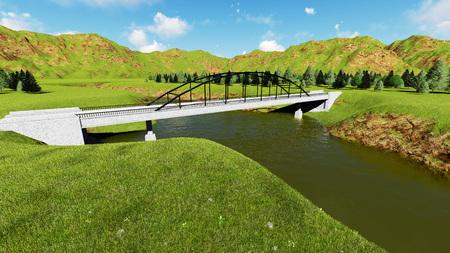 footbridge: Illustration of rural landscape with stone bridge 2