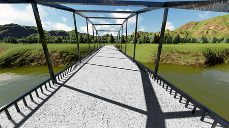 footbridge: Illustration of rural landscape with stone bridge