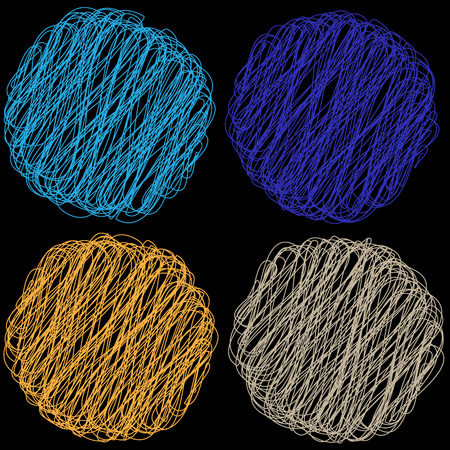 spiral binding: Vector color Rope hank on black background 6