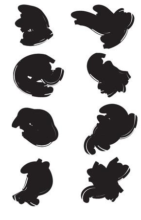 brushstroke: Vector large set of 8 different grunge brush strokes. 4 Illustration