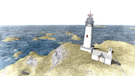 lighthouse keeper: 3d rendering Seascape at sunset. Lighthouse on the coast