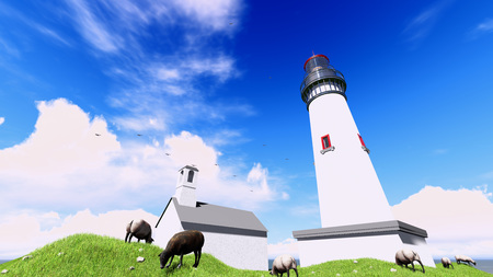 westerhever: 3d rendering famous lighthouse in westerhever, North Sea