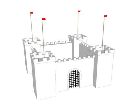 castle door: Vector clean castle on white background. Close door