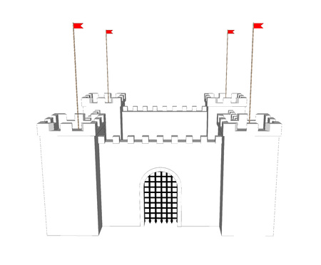 loophole: Vector clean castle on white background. Close door