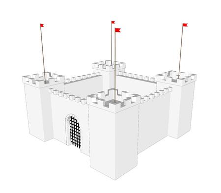 cerrar la puerta: Vector castillo limpia sobre fondo blanco. Cierre la puerta