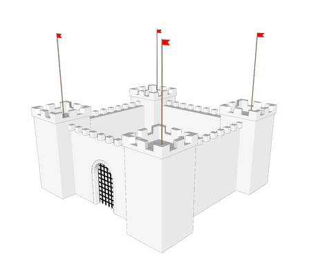 popular tale: Vector clean castle on white background. Close door