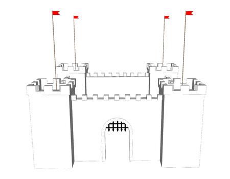 白の背景にベクトルきれいな城。ドアを開けて  イラスト・ベクター素材
