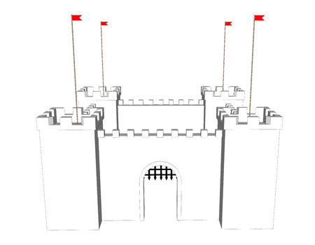 Vector clean castle on white background. Open  door Illustration