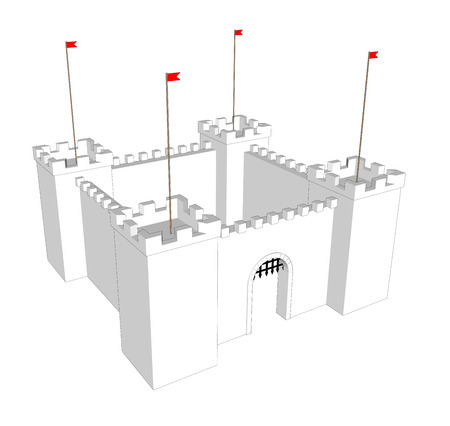 Vettore pulito castello su sfondo bianco. Porta aperta