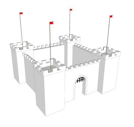Vector clean castle on white background. Open  door Vettoriali