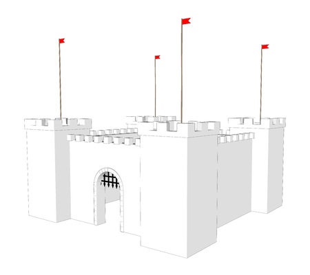 popular tales: Vector clean castle on white background. Open  door Illustration