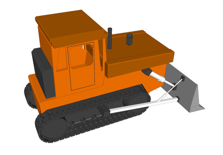 harrow: Vector Farm Tractor with bucket on white background