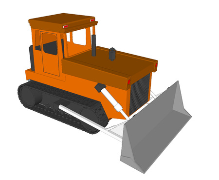Vector Farm Tractor with bucket on white background