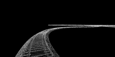 siding: vector illustration White Railway on black background