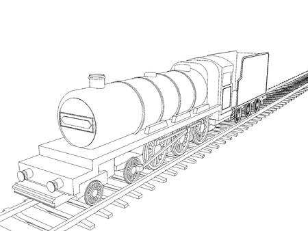 hovercraft: Vector Train outline on white background