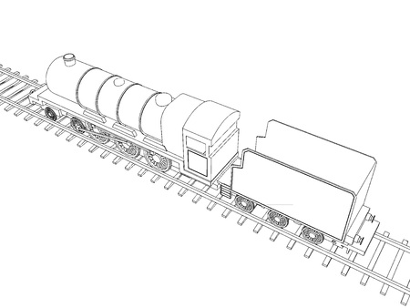 Vector Train outline on white background