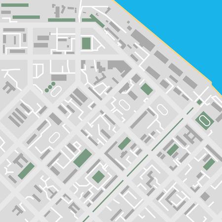 unmarked: Vector flat city map river illustration unmarked Illustration
