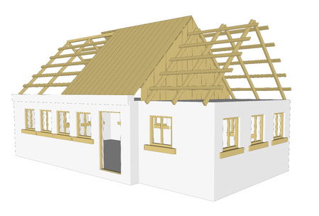 cottage: vector cottage building house on white background