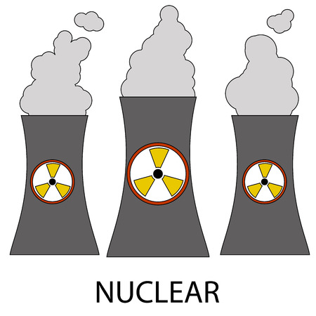 nuclear power: Vector Isolated nuclear power plant icon on white background in cartoon style