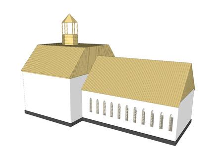 church interior: Vector building 3d Church  on white background icon art. 1 Illustration